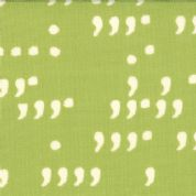 Moda Comma by Zen Chic - 2420 - White Commas on Green Background - 100% Cotton Fabric